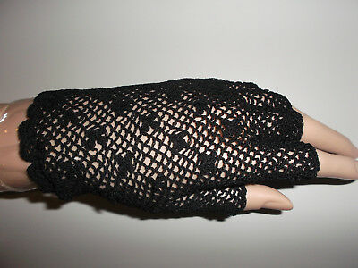 MITTS WHITE, BLACK COTTON WOMEN reenactor CIVIL WAR VICTORIAN FINGERLESS gloves