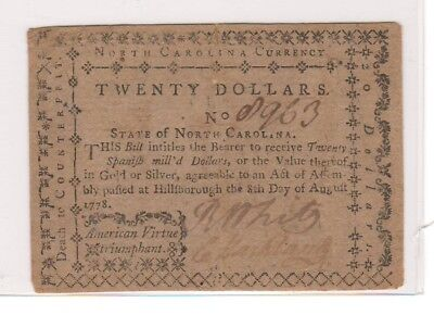 North Carolina Colonial Currency Friedberg # NC 178 August 8, 1778 20 Dollars