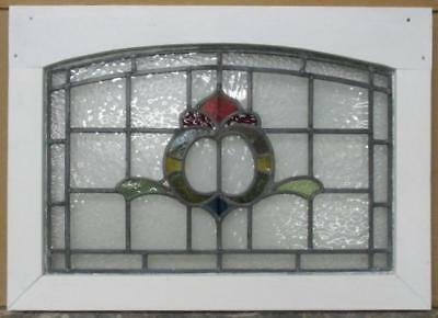 "MID SIZE OLD ENGLISH LEADED STAINED GLASS WINDOW Arched Abstract 29.75"" x 21.25"""