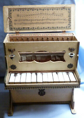 Charming C.1900 Antique Miniature Painted Wooden Piano