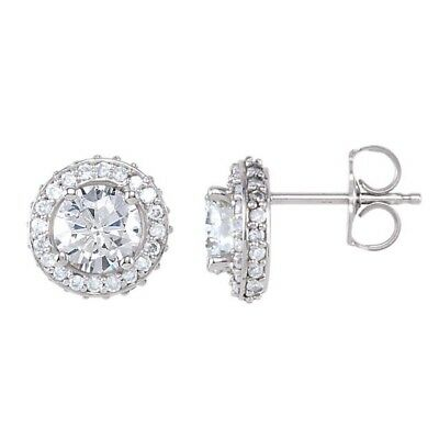 Diamond Halo Earrings 14Kt White Gold 5 Sizes ¾  1  1⅓ 1 ⅞  2 ⅜ ctw Quality