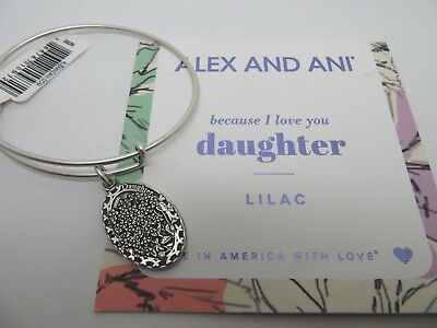 Alex and Ani Silver I love You Daughter II Lilac Bracelet Charm New w/tags