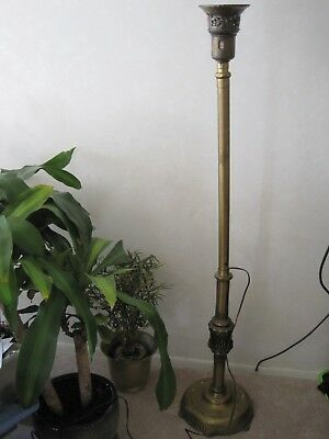 ANTIQUE VINTAGE ART Deco Torchiere Floor Lamp Needs Rewired Polished ...