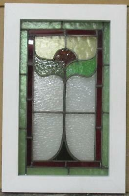 "OLD ENGLISH LEADED STAINED GLASS WINDOW Red Bordered Floral 13.5"" x 20.5"""