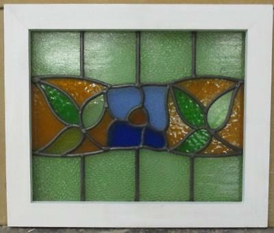 "OLD ENGLISH LEADED STAINED GLASS WINDOW All Color Floral 19"" x 16"""