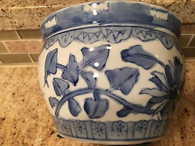 Vintage  Blue & White   Asian Flower pot vase planter