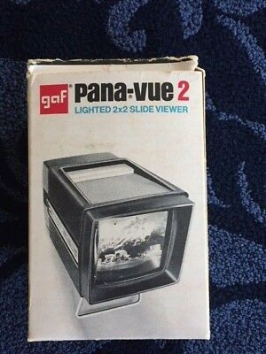 RARE vintage antique GAF 6562 Pana-Vue 2 Lighted 2x2 Slide Viewer W/ Stand WORKS