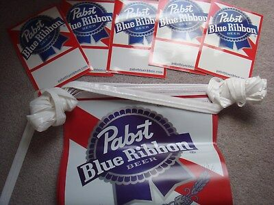 Pabst Blue Ribbon Flag Banner 4 Stickers New