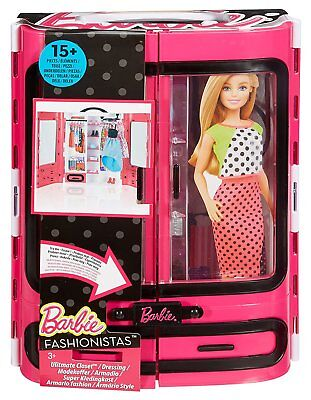 Barbie Fashionistas Ultimate Closet Carrying Case Pink DPP71/DMT57 NEW