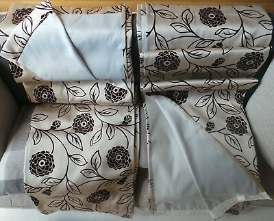 PAIR OF HEAVY QUALITY LUXURY CURTAINS - 90W x 72D - GOLD & CHOCOLATE BROWN
