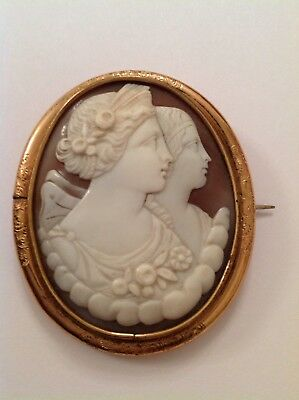 Antique Victorian Gold Plated Mounted Carved Shell Cameo Brooch