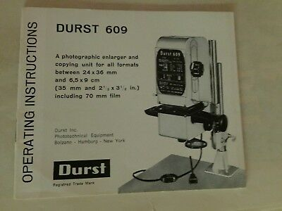 Durst 609 Enlarger Instruction manual