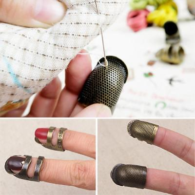 Retro Thimble Needles Sewing Quilting Metal Ring Leather Craft Finger Protector