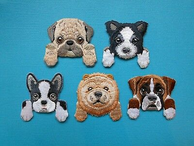 Dog Breed Embroidered Patch Applique Iron On Sew On Boxer Pug Boston Chow Collie