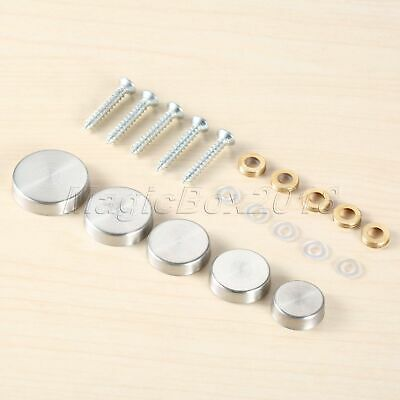 20pcs Mirror Nails Advertisement Decorative Stainless Steel Silver Screw Caps