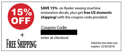 Discount Coupon for Sewing Machine Restoration Decals