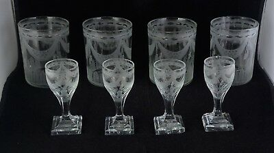 Antique Glass Group - 4 Cordials 4 Tumblers - Engraved Swags Tassels Stars