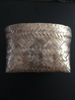 Rare Medium Size TANE Orfebres Sterling Silver Woven Basket Beautiful Design