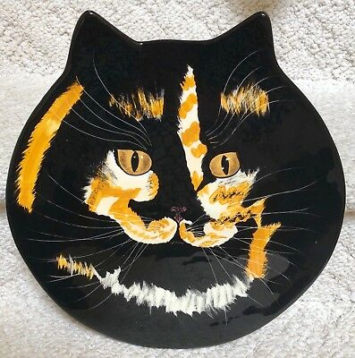 NINA LYMAN Calico Cat Plate Cats by NINA Cat Head Shaped Collectors Plate LARGE