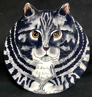 NINA LYMAN Tabby Cat Plate Cats by NINA Cat Head Shaped Collectors Plate LARGE