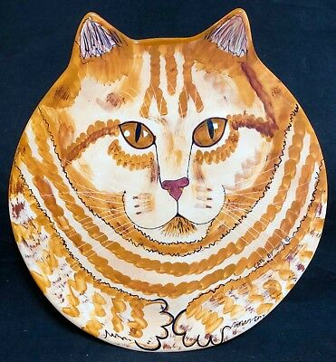 NINA LYMAN Golden Cat Plate Cats by NINA Cat Head Shaped Collectors Plate LARGE