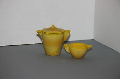 Akro Agate Childs Small Teapot And Creamer Interior Panel Yellow