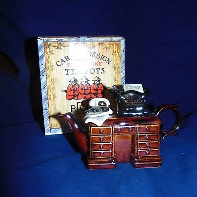 "Vintage Paul CARDEW  ""Crime Writer's Desk"" 1 Cup TEAPOT with GUN! New in BOX!"