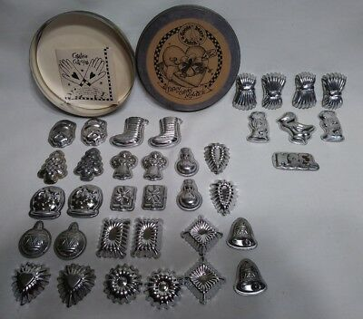 Vintage Lot Of 36 Metal / Tin - Tart / Candy / Butter Mold