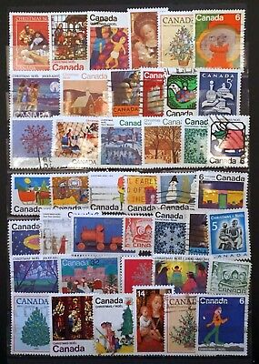 CANADA Selection of 42 different  CHRISTMAS STAMPS Noel 1967-1985 used