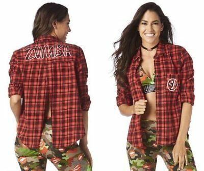 Womens Zumba Fitness Party in Da Basement Red Flannel Top Size XXL NWT