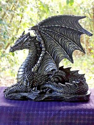 Black Silver Sitting Dragon 25Cm Statue - New Fantasy/gothic Giftware