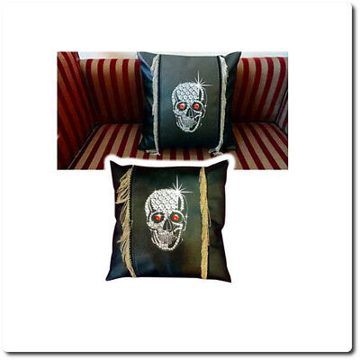 Gothic Black Bling Skull Cushion Square With [Real Metal Chains]