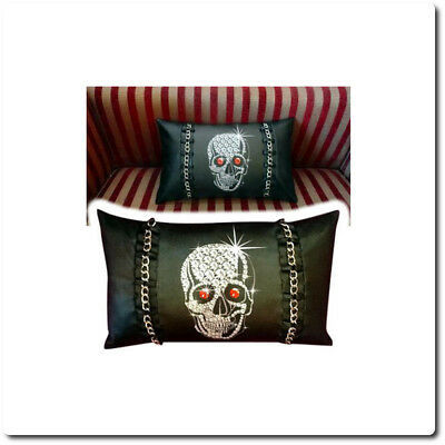 Gothic Black Bling Skull Cushion With [Real Metal Chains]