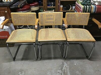 Vintage Set of 3 CESCA Marcel Breuer Mid Century Modern CHAIRS Reproduction?