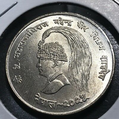 1968 Nepal Fao Silver Ten Rupees Scarce  Brilliant Uncirculated Coin