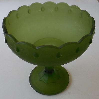 "Indiana Green Satin Glass Compote 7.5"" Tall Scalloped Bowl on Pedestal"