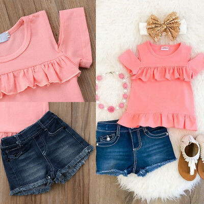 US Stock Baby Girls Summer Outfits 2PCS Tops+Denim Shorts Toddler Kids Clothes