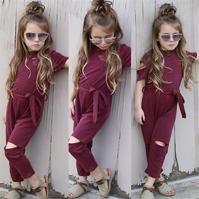 AU Toddler Kids Baby Girls Holes Romper Bodysuit Jumpsuit Outfits Clothes Casual