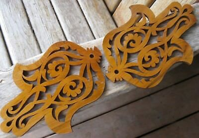 Vintage Architectural Salvage Wood Scroll Antique Weathered Patina Farmhouse