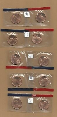 1991 P&D Lincoln Memorial Pennies