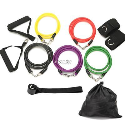 11pcs Resistance Band Set Fitness Exercise Band with Door Anchor Ankle MSF