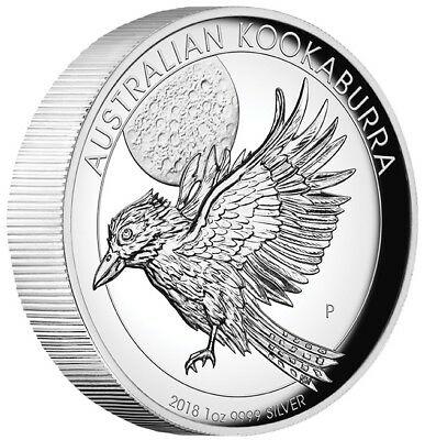2018 $1 Australian Kookaburra 1 oz Silver Proof High Relief Coin - Perth Mint