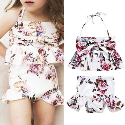 AU Seller Toddler Girls Kid Floral Bikini Swimwear Bathing Suit Swimsuit Costume