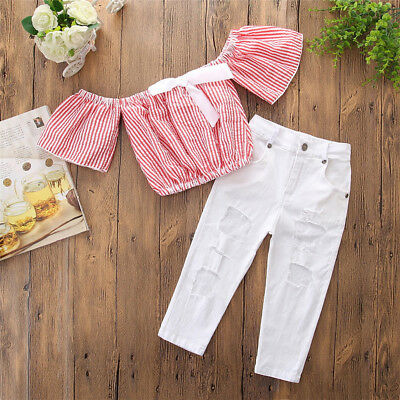 2PCS Toddler Kids Baby Girls Clothes Outfits T-shirt Tops+Ripped Jeans Pants Set