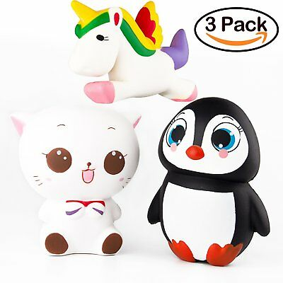 3-Pack Slow Rising Squishy Toy Jumbo Animal Squeeze Toy Unicorn Penguin Cat