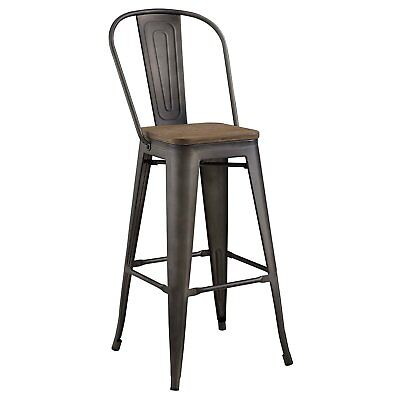 Bar Stools Brown Modern Heavy Duty Aluminum With Bamboo Seat And Backrest (Side)