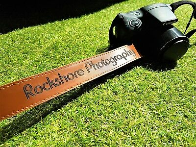 Personalised Light Brown Faux Leather Camera Neck Strap Photography Wedding Gift