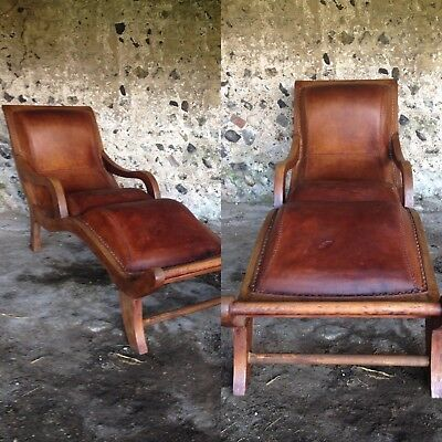 ANTIQUE FRENCH LEATHER DAY BED SUN LOUNGER VINTAGE TEAK CHAIR 1 of pair