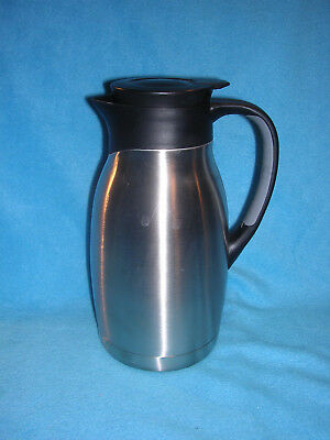 Brushed Stainless and Black Plastic Insulated Coffee Pot with Secure Lid 1.5L