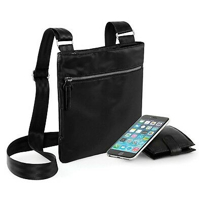 Slim Black Across Cross Body Hand Bag Handbag Shoulder iPad Tablet Pouch Travel